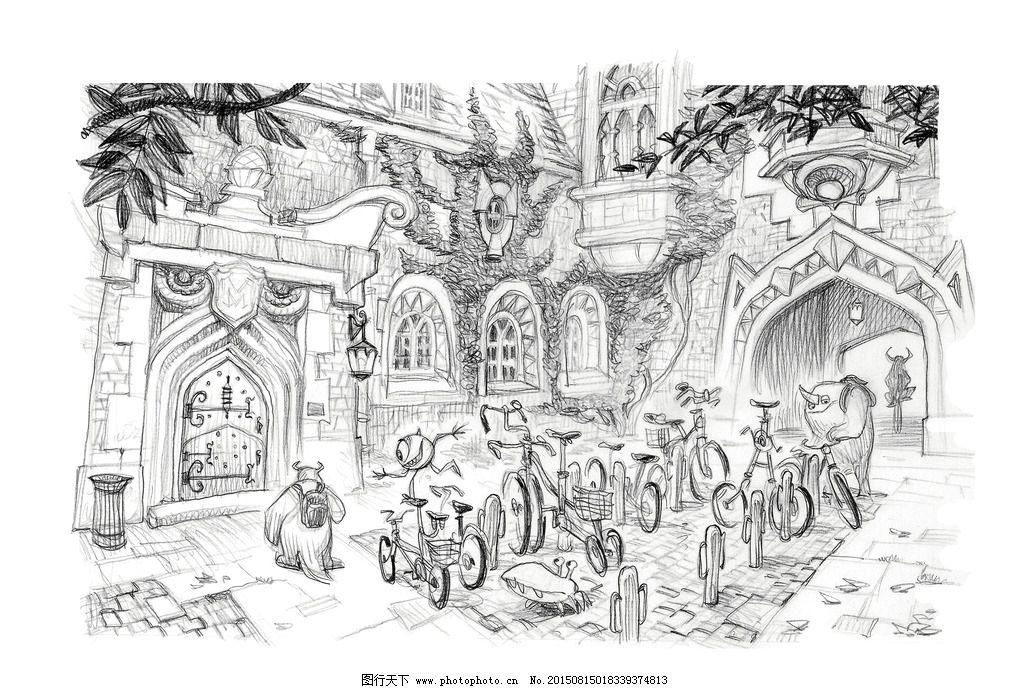 黑白手绘怪兽大学图片