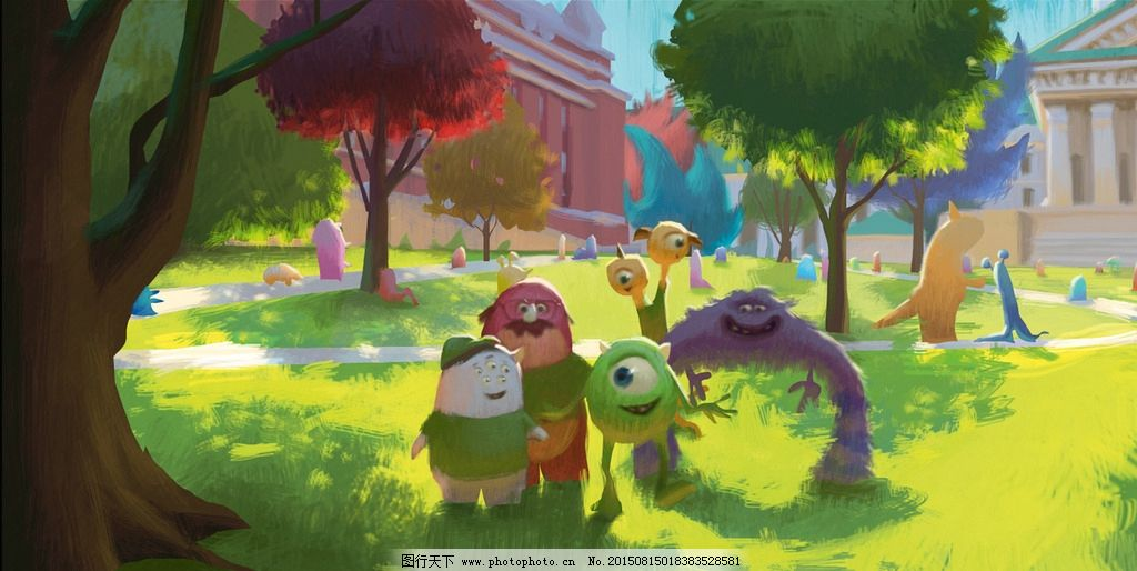 手绘花园怪兽油画 公园 动漫 儿童 漫画 公仔 怪兽大学 可爱