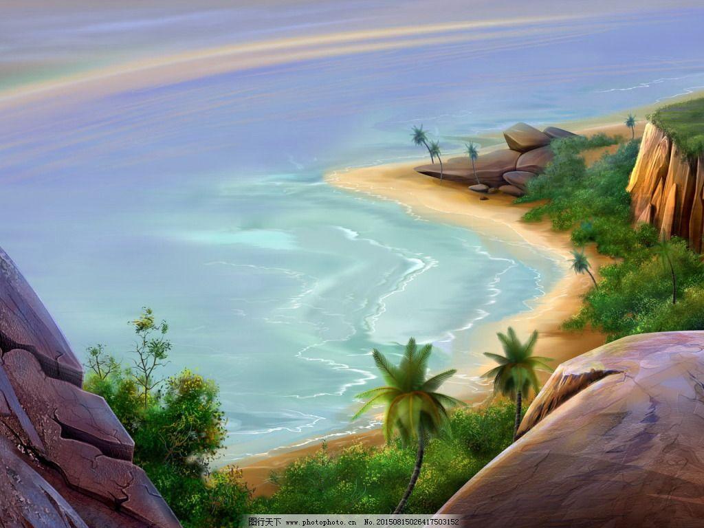 海滩油画免费下载 高清背景
