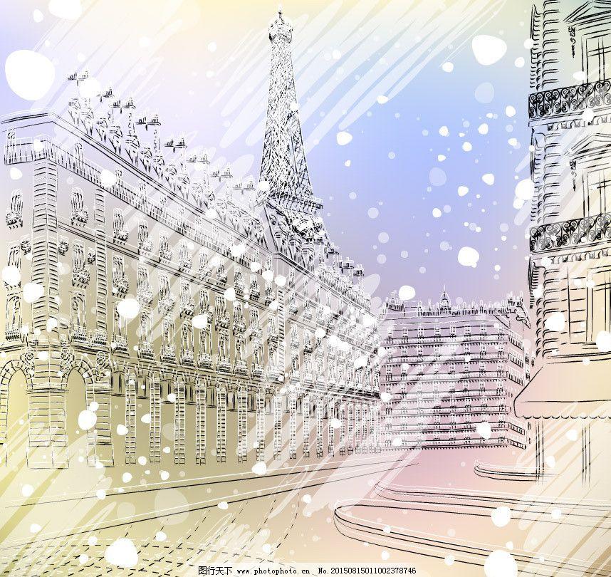 冬季巴黎雪景