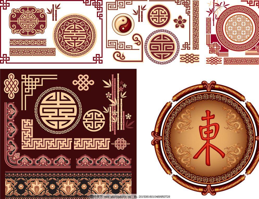 中国传统窗花花纹矢量素材