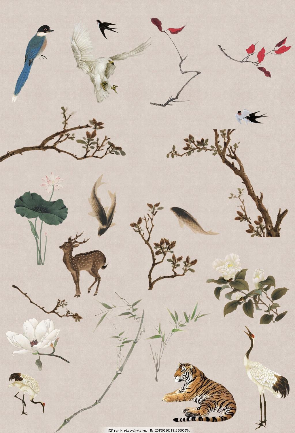 古风工笔画溶图中国风元素 豆绿色 古风元素 荷花 鹤虎鹿 米黄图片
