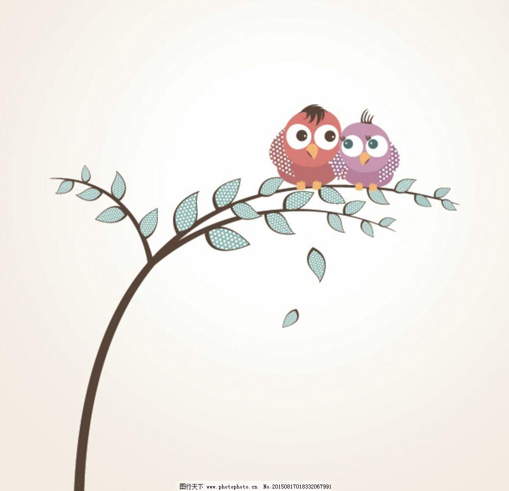 手绘情侣小鸟图片