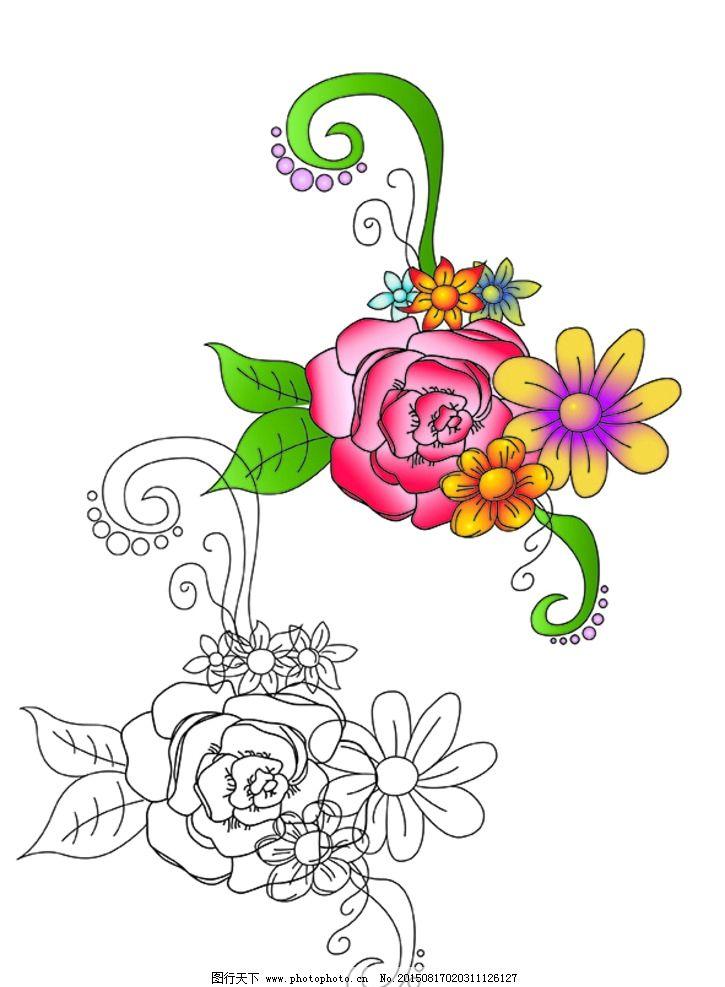 手绘矢量花朵黑白线稿图片
