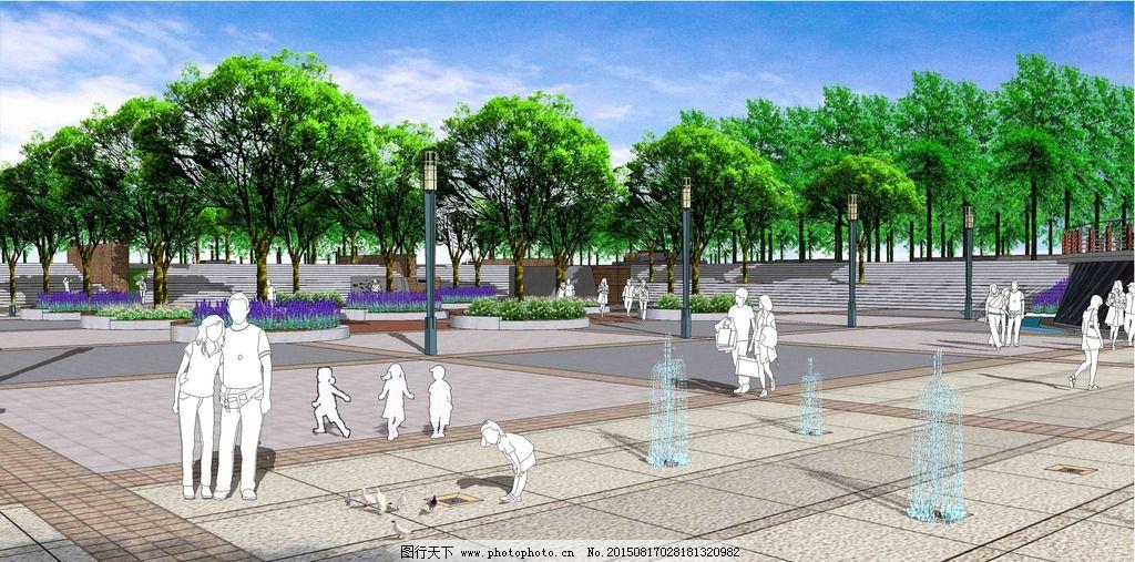 广场铺装设计 广场意向 su景观效果图 植物设计 广场树阵 广场树池
