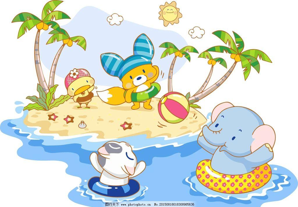 动物游泳图片_动漫人物