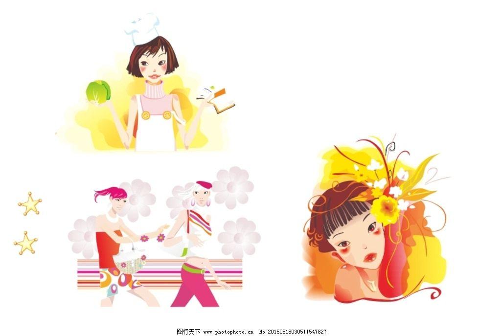 矢量情景插画职业女孩图片_卡通设计_广告设计_图行