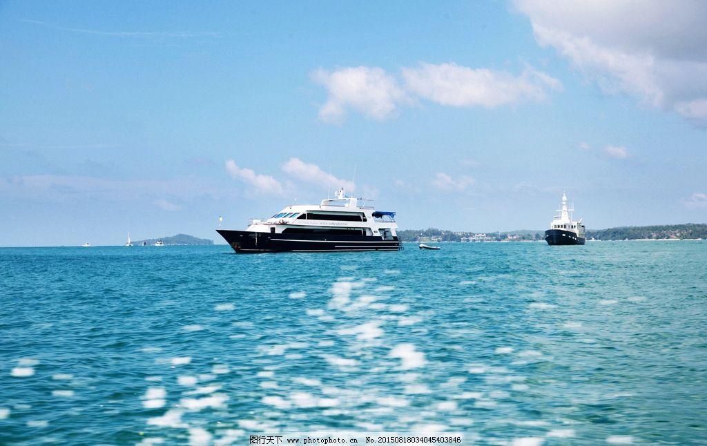 泰国 普吉 游船 碧波 蓝天 白云 游艇 海岸 泰国普吉岛 摄影 旅游摄影