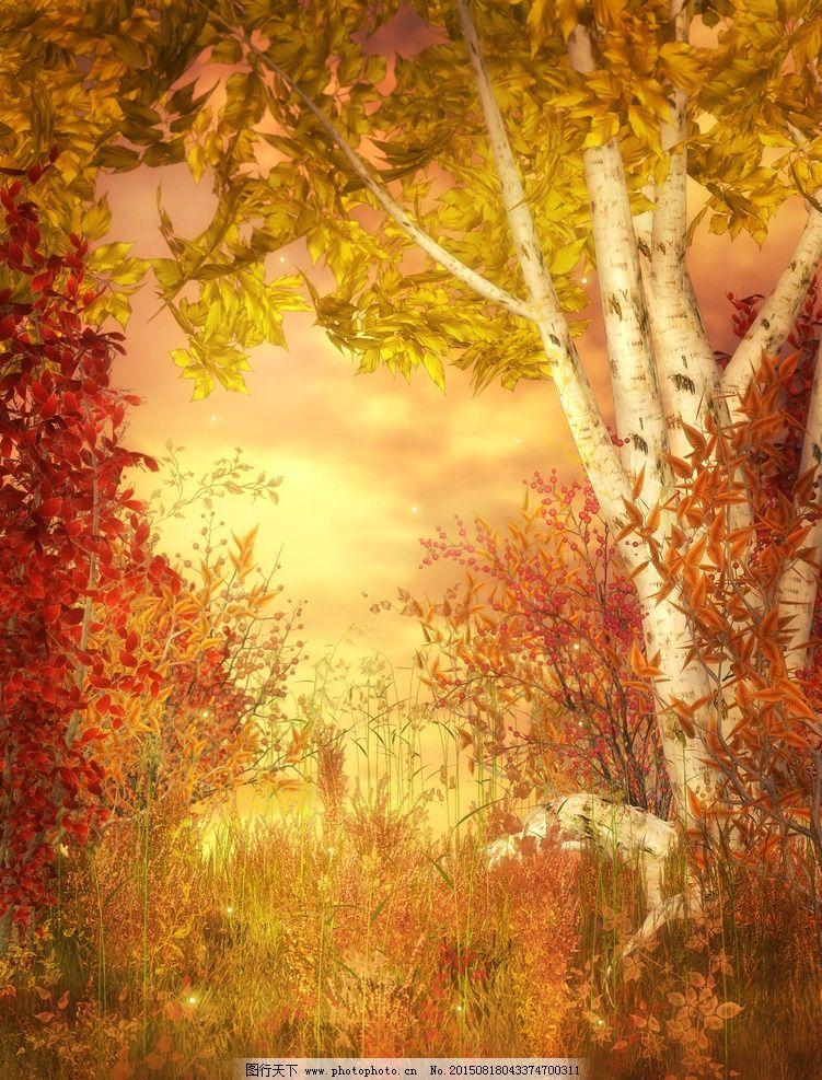 梦幻式背景图片,森林 树木 唯美 哥特风格 炫彩 精美