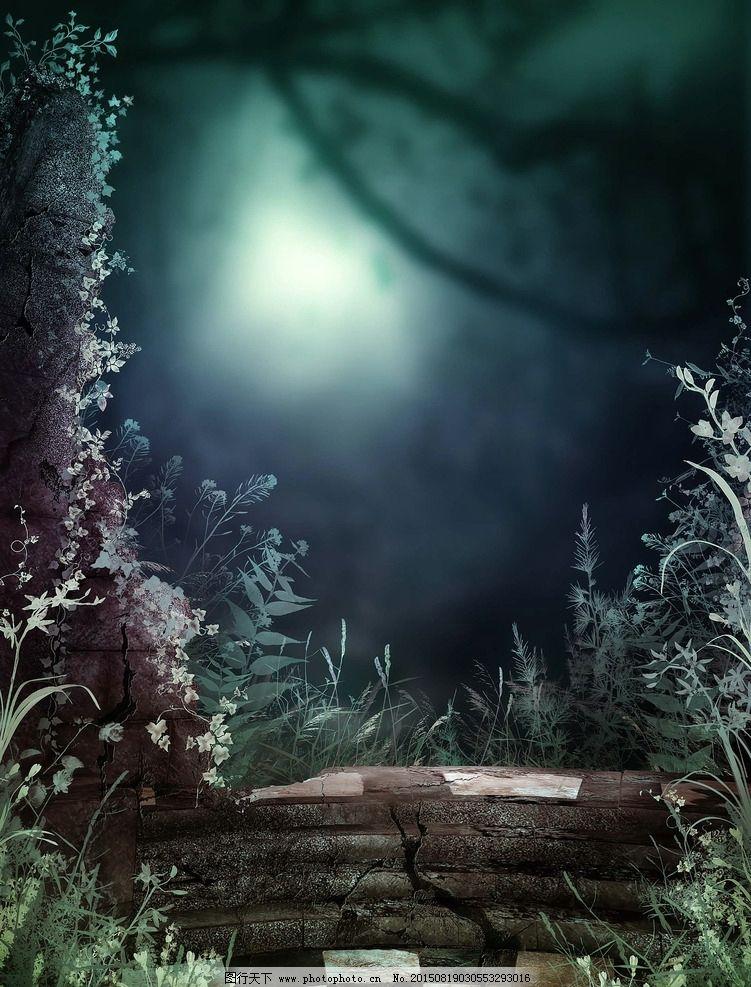 梦幻式背景 梦幻森林 树藤 古罗马哥特式 宫殿 魔幻场景 花园幻想