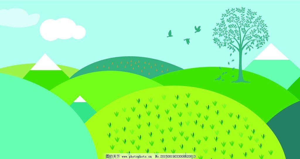 手绘山坡小树背景壁纸图片