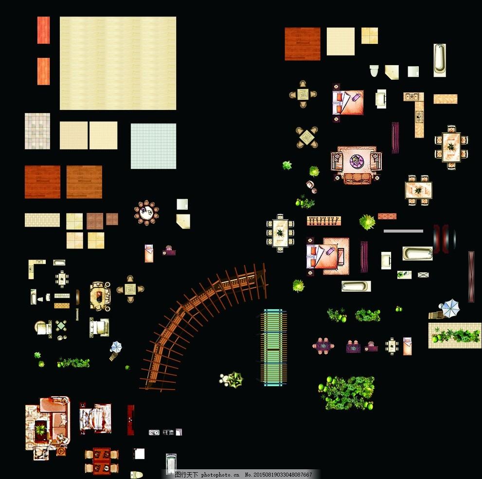 平面户型布置图元件 风格 户型摆件 欧式家具 平面户型图