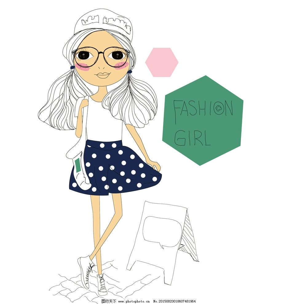 时尚 前卫 女孩 女生 女人 眼镜 素描稿 矢量图 ai cs3 摩登女孩子