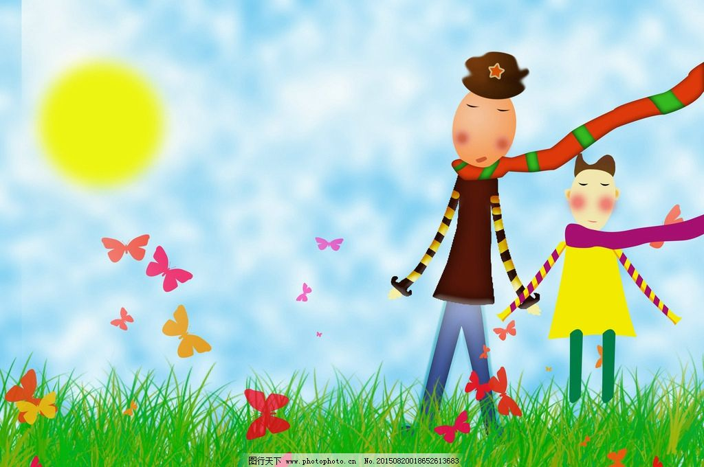 儿童画 卡通画 蓝天白云 长颈鹿人 设计 动漫动画 300dpi psd 设计图片