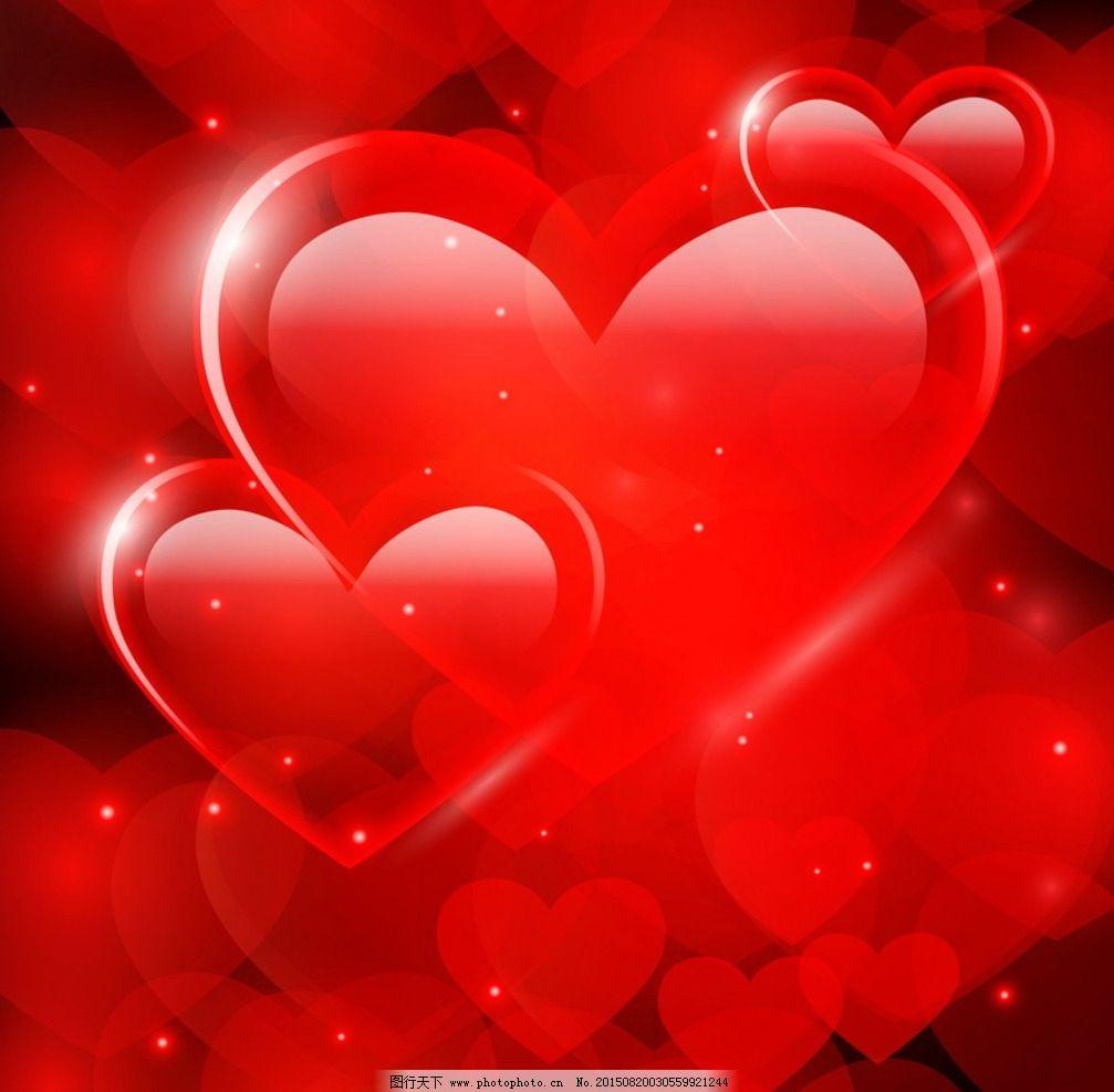 心形红色背景图片_卡通设计