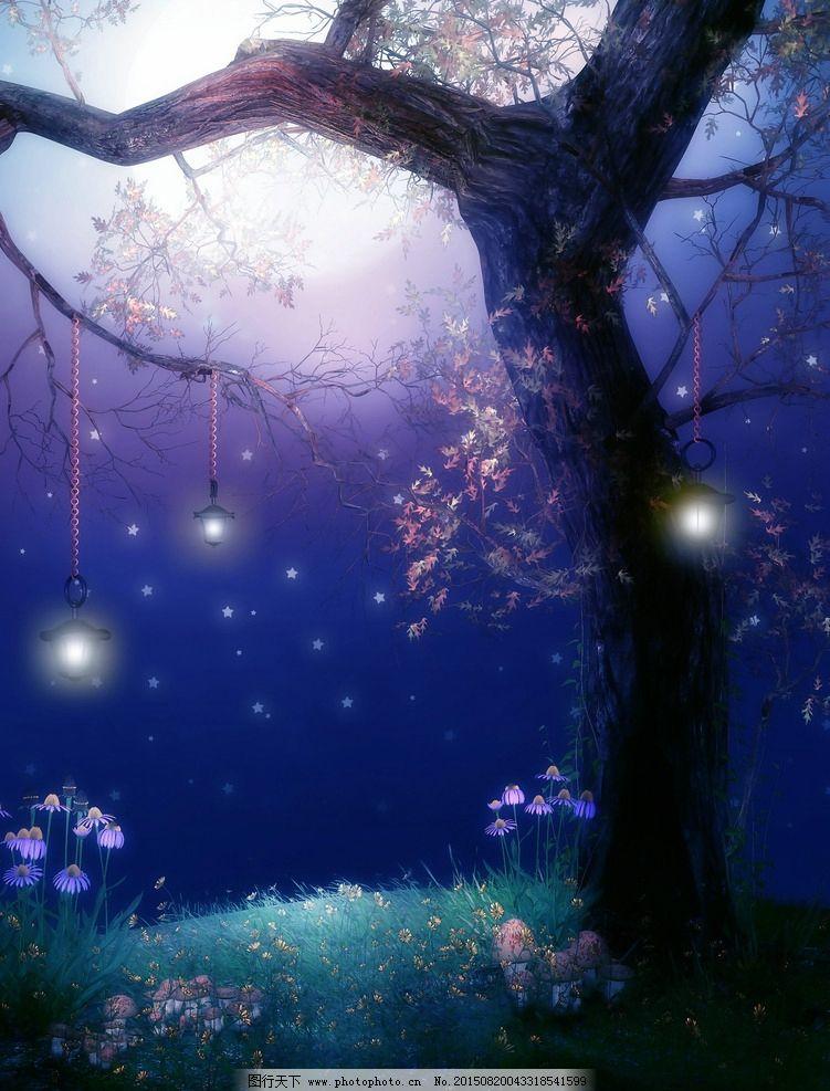 梦幻式背景 梦幻森林 森林图片 树藤唯 美哥特风格 月亮 魔幻场景