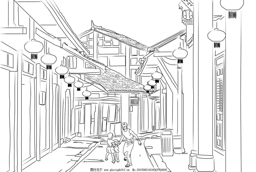 青岛栈桥黑白线描画