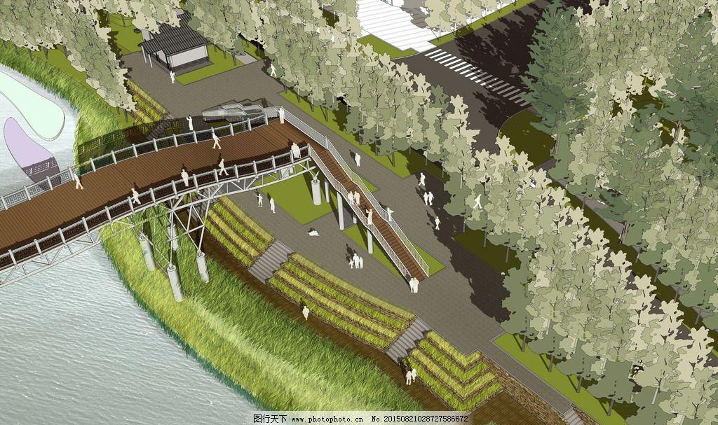 滨河景观桥鸟瞰图片