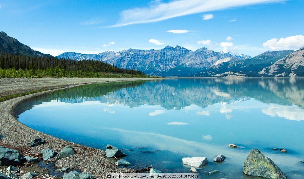 雪山 湖泊 针叶林 蓝天 白云 天空 石头 倒影 西藏风光 树林 山脉