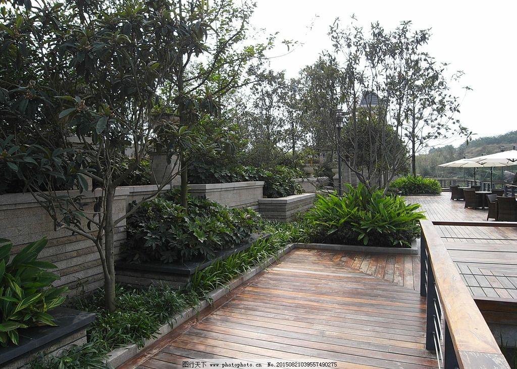 园林建筑集锦 墙体 墙体景观 木板路 木板 景观木板 摄影 建筑园林