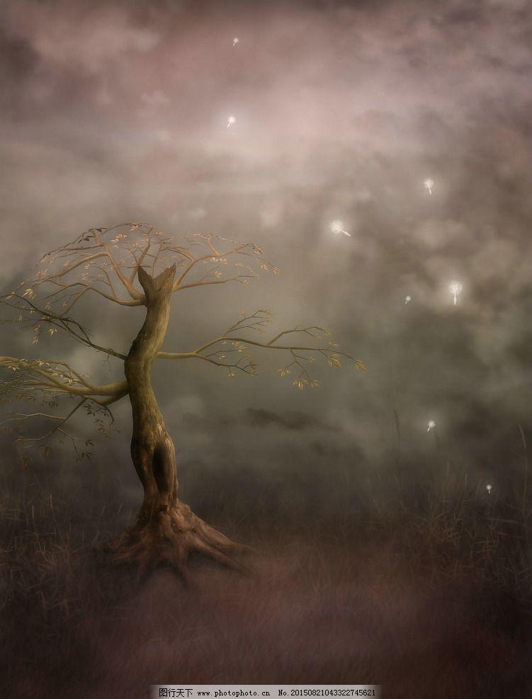 梦幻式背景 森林 梦幻森林 树藤 唯美哥特风格 魔幻场景 花园幻想