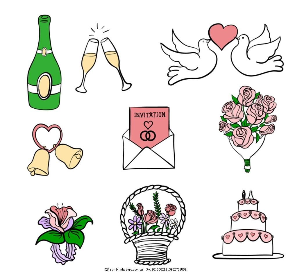 手绘婚礼元素矢量素材 香槟酒 酒杯 酒瓶 高脚杯 鸟 小鸟 鸟类