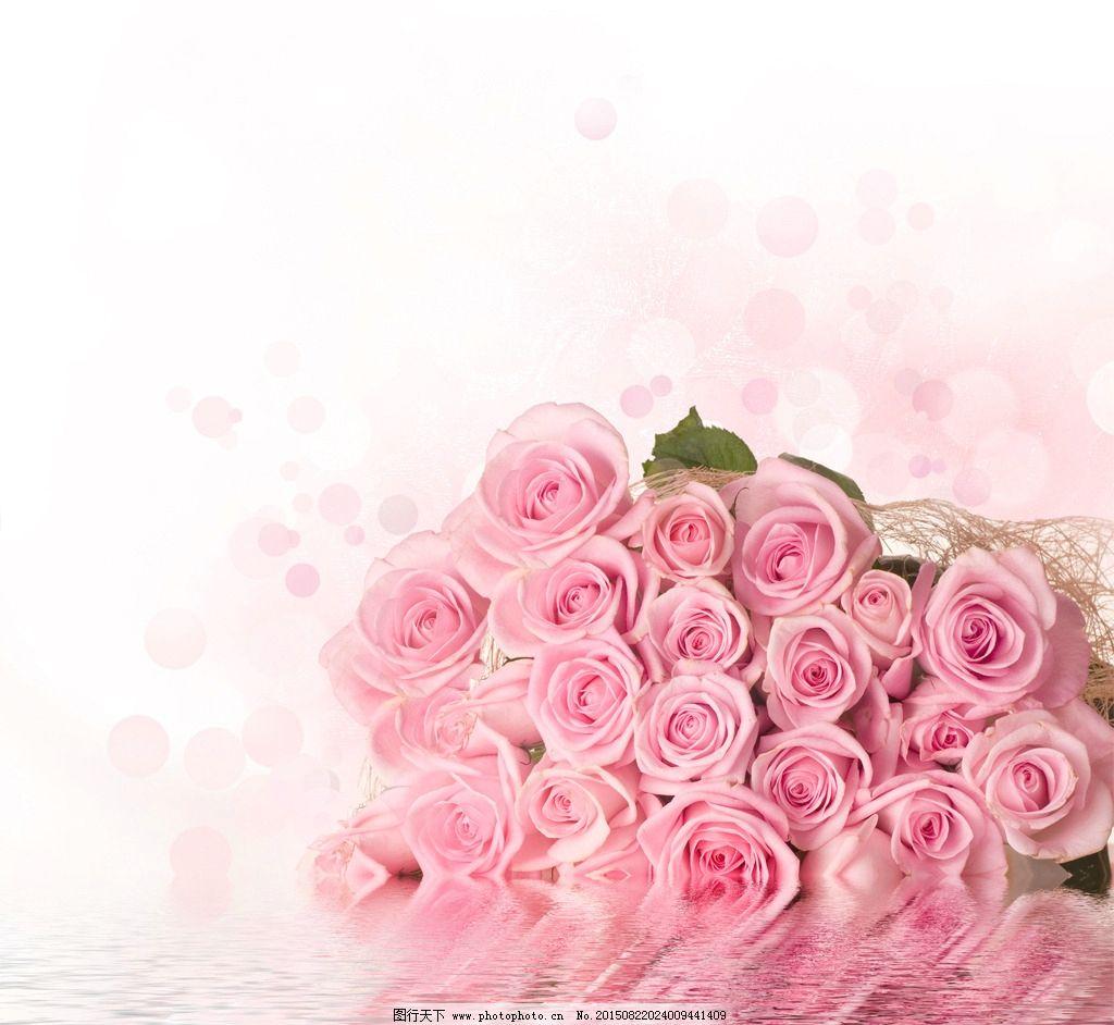 粉色玫瑰花背景素材-粉色水波纹布缦图片图片