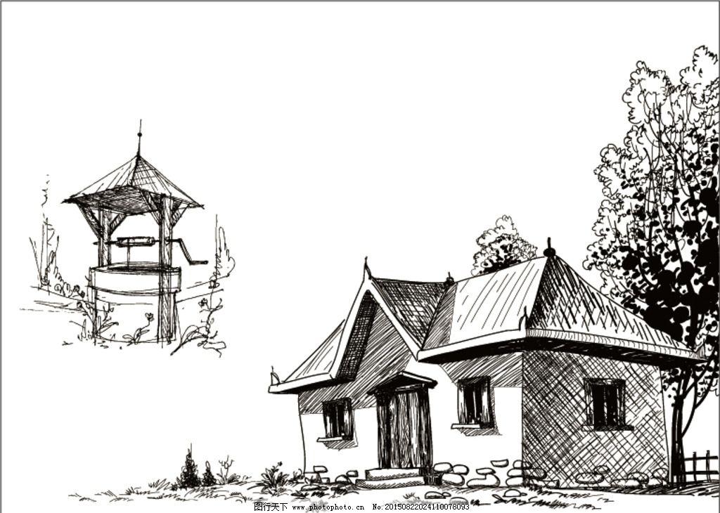 线条 黑白 线稿 乡村