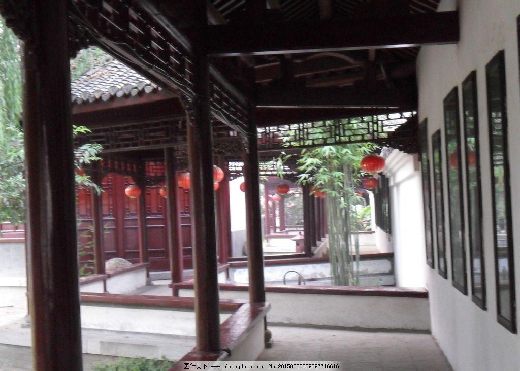 园林建筑的廊手绘