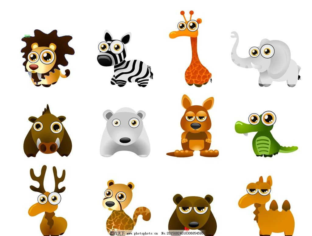 袋鼠 鹿 熊 骆驼 豹子 小动物 可爱 简笔画 插画 ai文件夹 设计 动漫