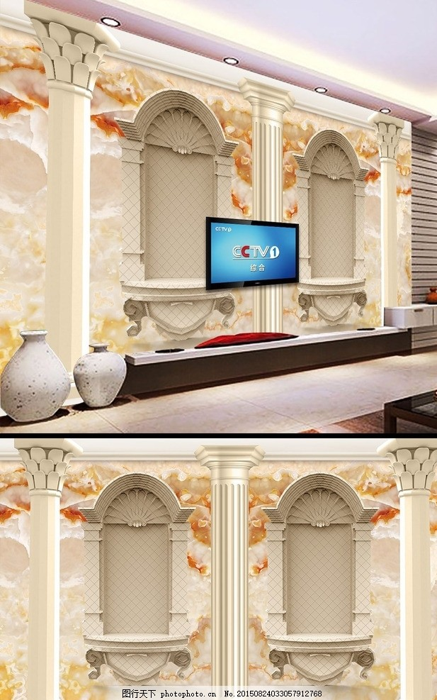 电视墙 壁画 墙纸 床头      背景墙墙画 背景墙 罗马柱 欧式 欧式