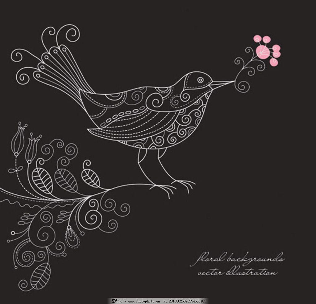线稿花鸟矢量素材 杜鹃 背景 线条 粉色