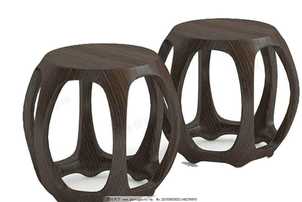 实木凳子贴图 3d建模凳子 仿古凳子 复古圆凳子 3d建模圆凳 3d建模