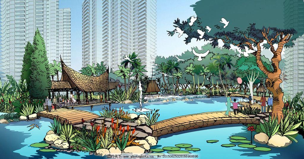 景观手绘 景观效果图        psd 人物手绘 人物 设计 环境设计 景观