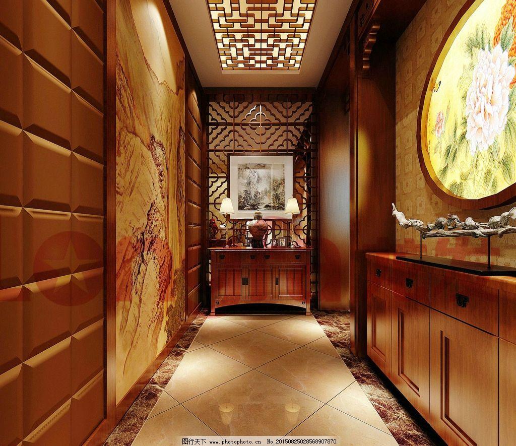 室内设计 走廊 玄关 装修 装饰 室内装修 家装 中式风格 地板