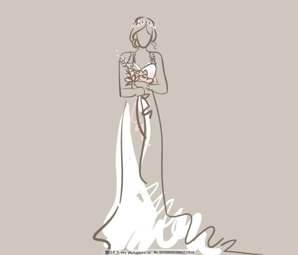 手绘 新娘 婚纱 卡通 美女