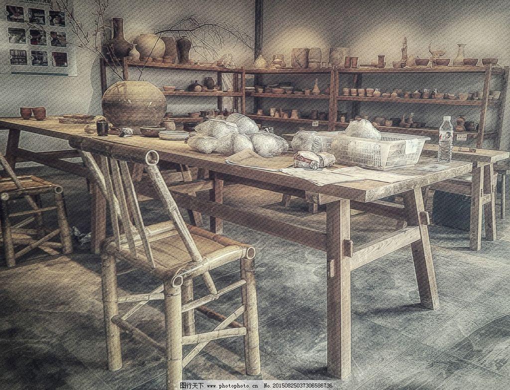 手绘清代桌椅  手绘
