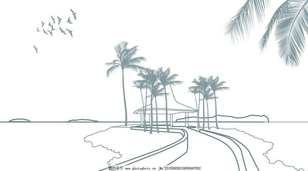 手绘 线描 简约 壁纸 黑白