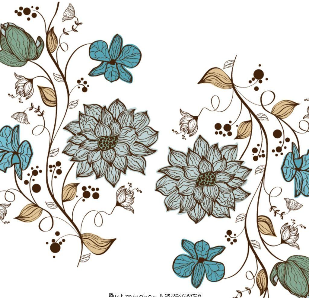 矢量 手绘 线条花卉 花朵 叶子 古典花卉 设计 生物世界 花草 cdr