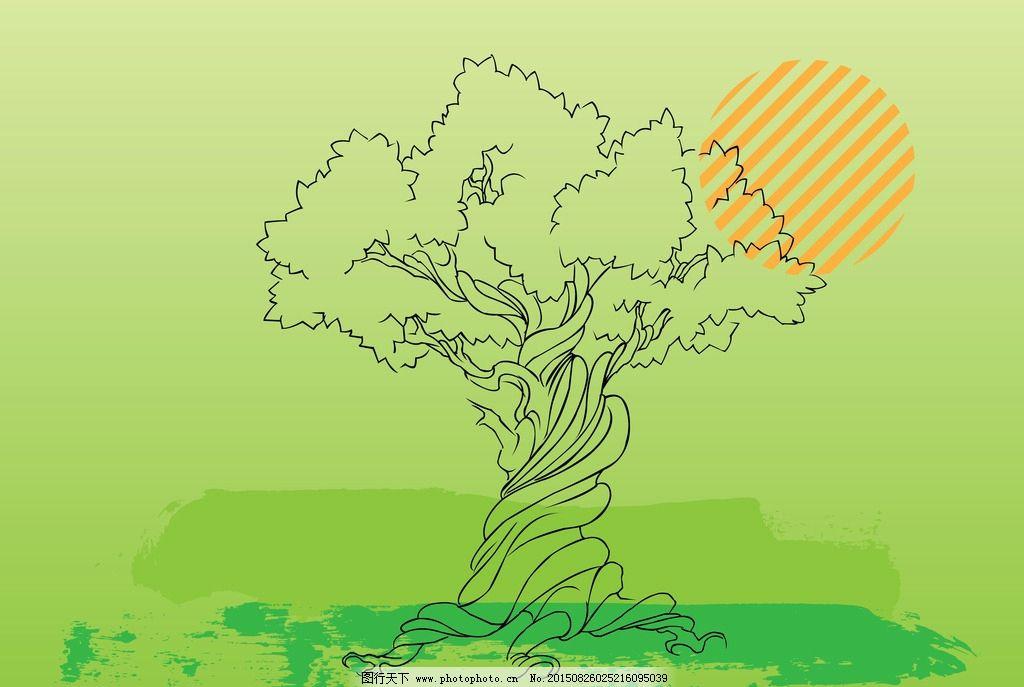 手绘大树背景图片