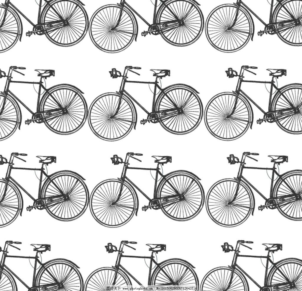 矢量手绘自行车图片
