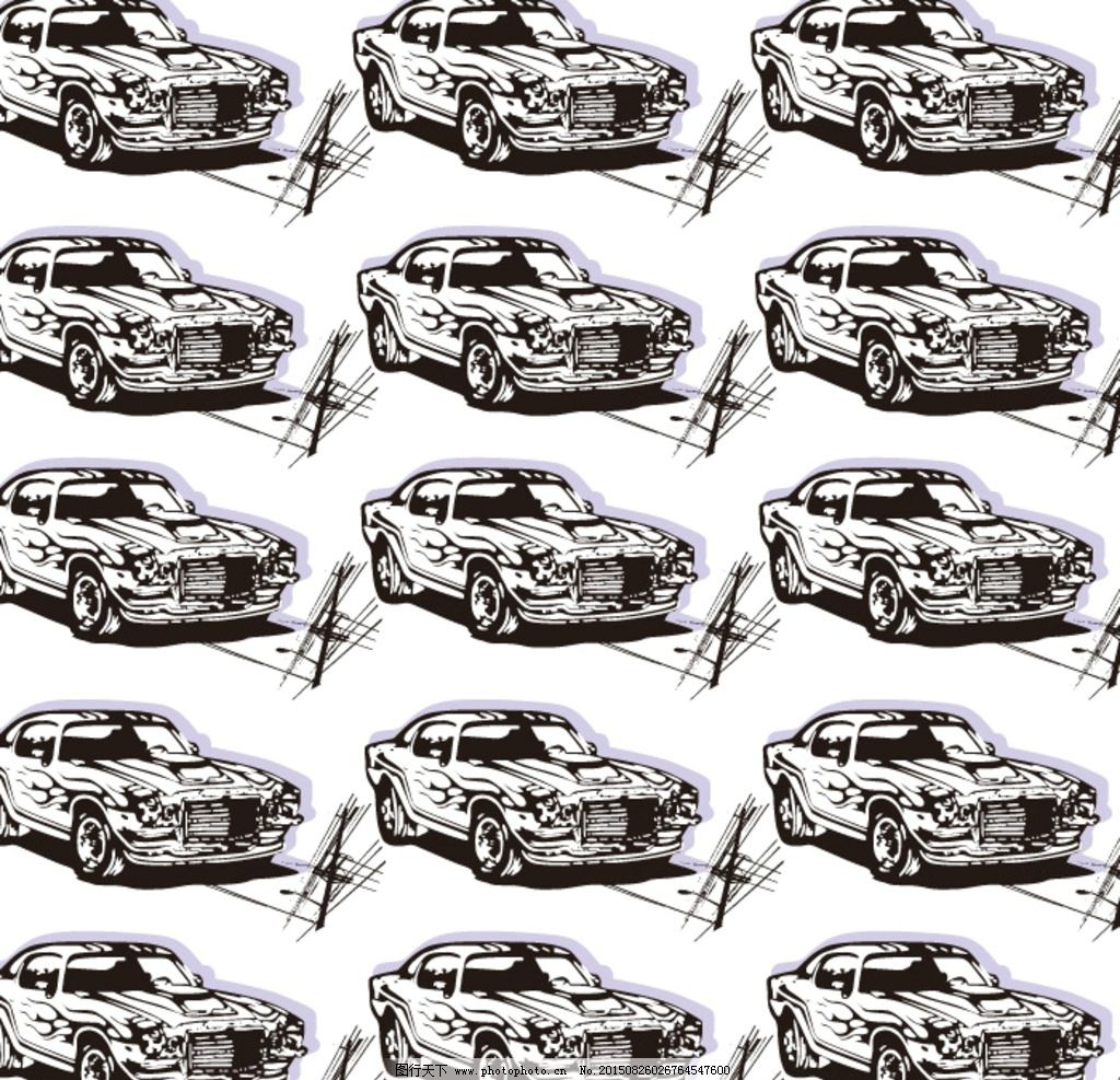 手绘 线条汽车 背景