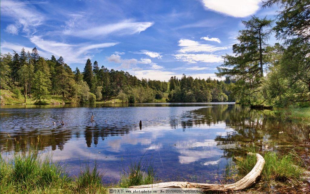 蓝天 白云 绿树 山水 自然 树木 树林 天空 云层 云朵 湖泊风景 山水