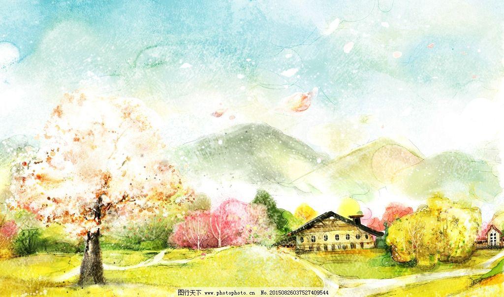 卡通唯美 自然风景      房屋唯美 色彩 风景 自然 秋天 卡通 树木