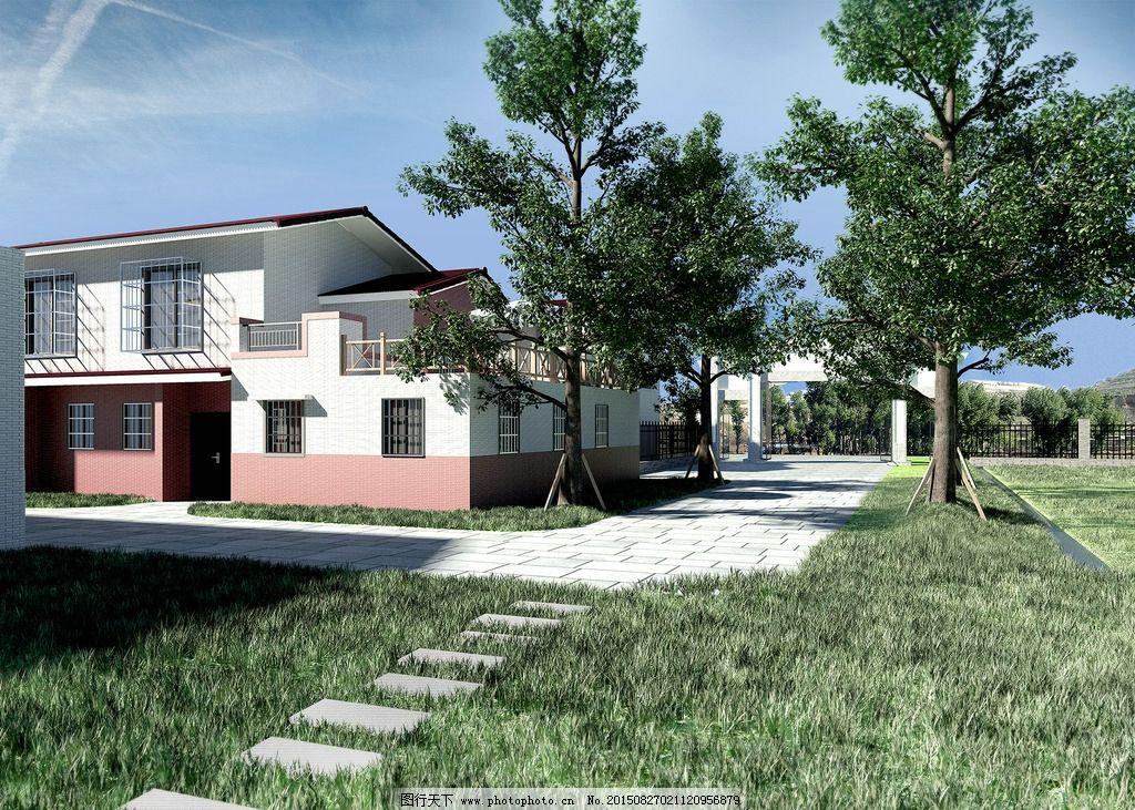 别墅 室外 庭院 绿化 草坪 别墅区 小区        室外效果图 设计 3d
