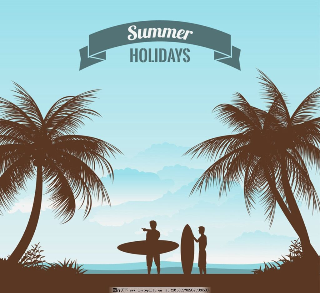 男子剪影 矢量 素材下载 丝带 冲浪板 椰子树 男子 海 度假 夏季 岛屿