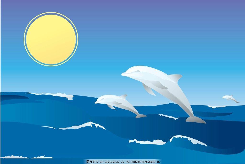 海豚海洋背景图片
