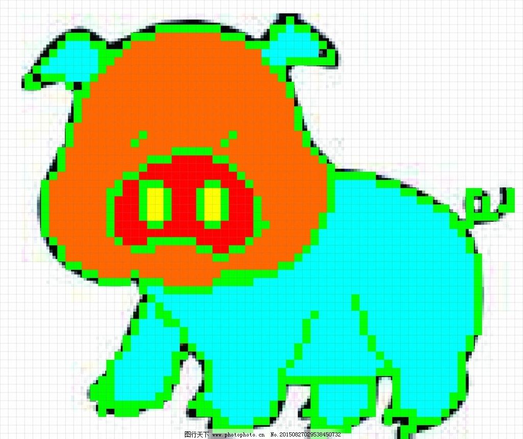 十字绣 猪猪图案 卡通图