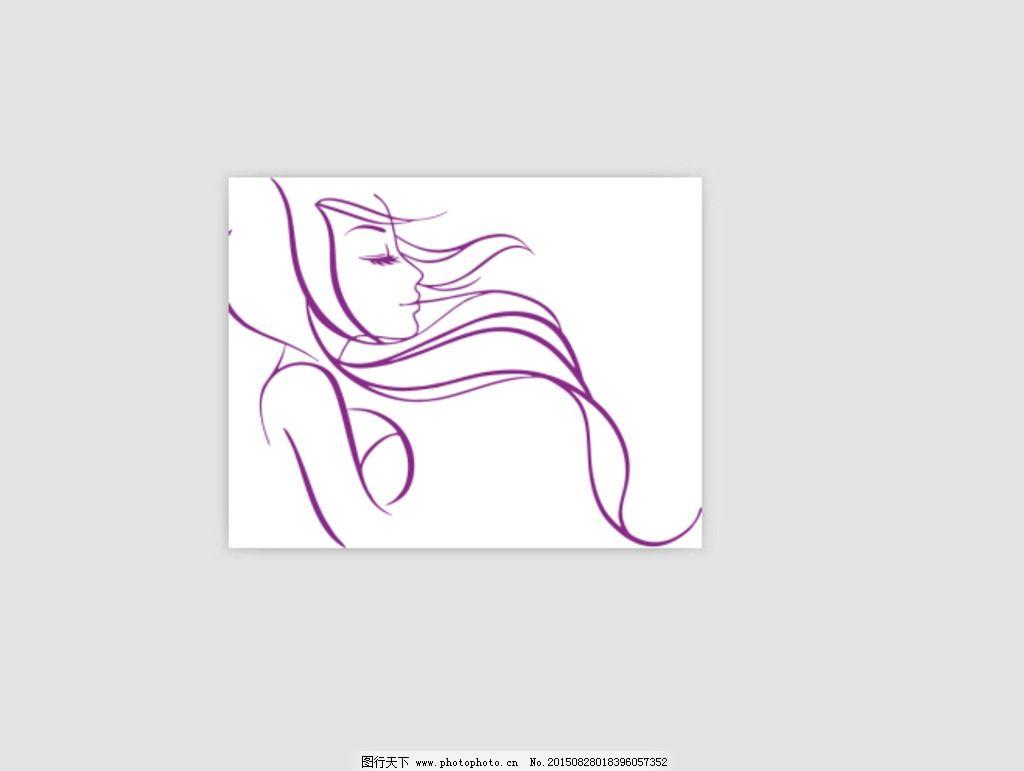 手绘 线条美女 插画美女 长发飘逸 美女手绘 动漫美女 花纹 纹理素材
