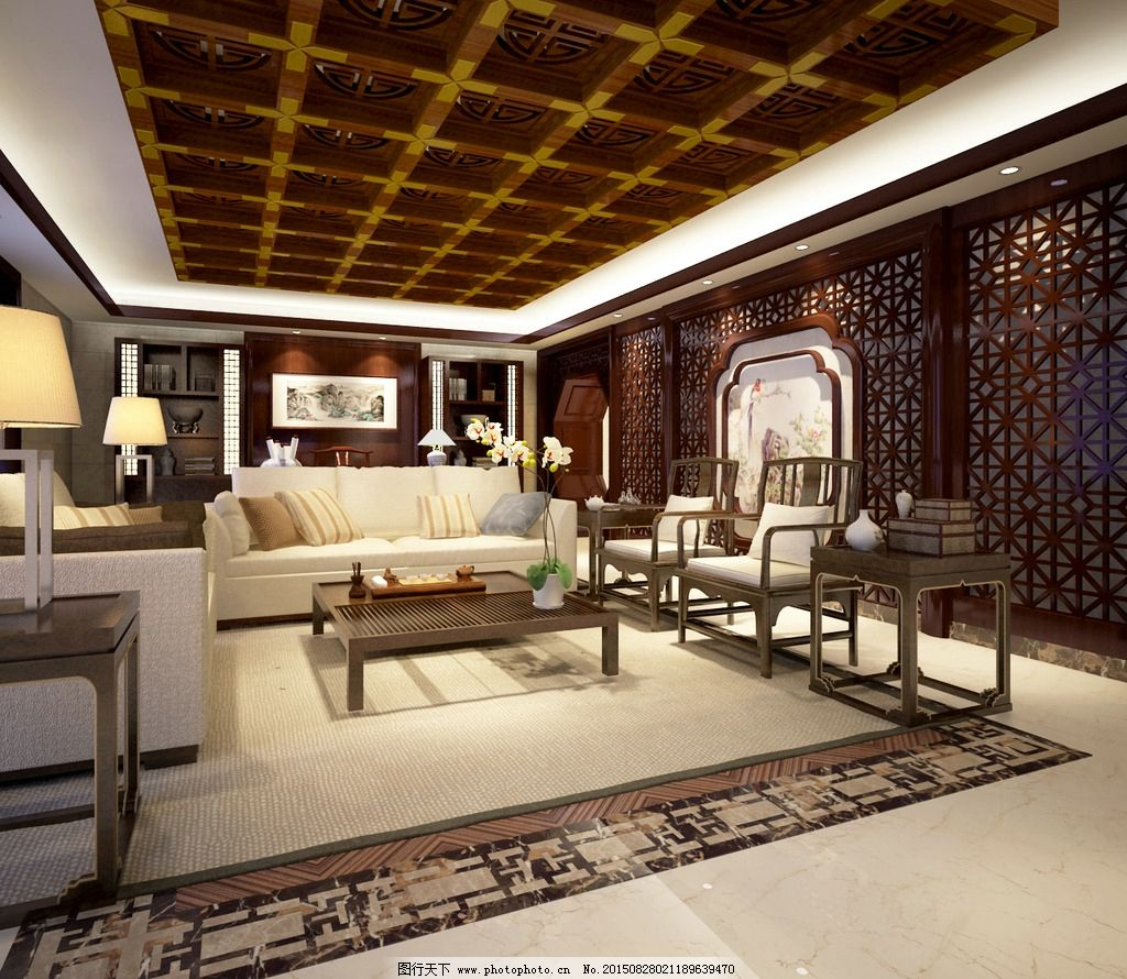 别墅新中式客厅装仹�b9��9f_新中式别墅客厅图片